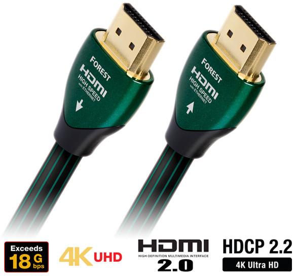 Audioquest HDMI 3D, 4K, 1080p, Ethernet, stříbro 0.5%, (Forest) 1,5m