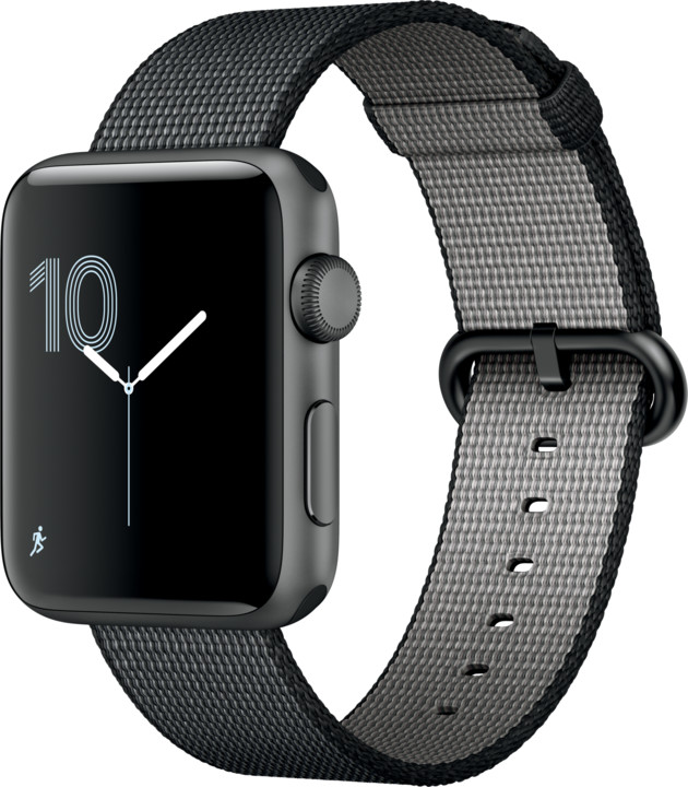 Apple Watch 2 42mm Space Grey Aluminium Case with Black Woven Nylon Band