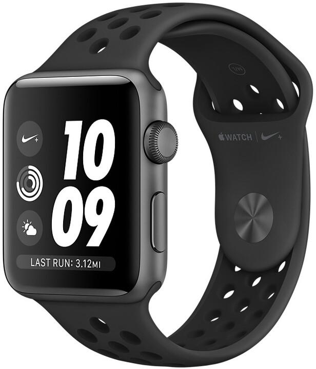 Apple Watch series 3 42mm NIKE+ pouzdro vesmírně šedá/černý řemínek