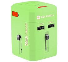 GoGEN cestovní adaptér pro 150 zemí, 2x USB, zelená - GOGTC163WORLDG