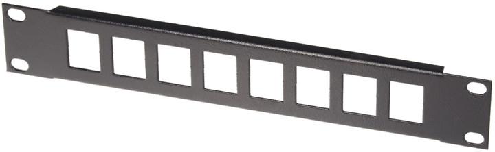 """Solarix patch panel PP-10-1U-B, 10"""", 1U, 8 portů, neosazený, přímý, černý"""