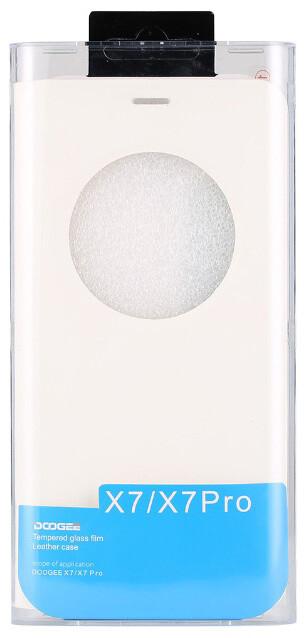 DooGee X7/X7 PRO Flip Case + Screen Protector Glass, bílá