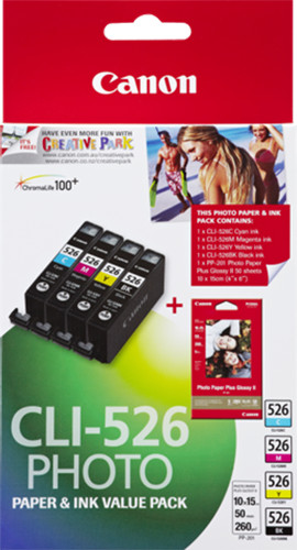 Canon CLI-526 Photo Value pack + 4x6 Photo Paper (PP-201 50sheets)
