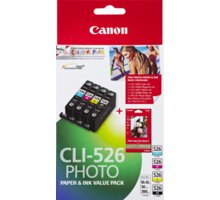 Canon CLI-526 Photo Value pack + 4x6 Photo Paper (PP-201 50sheets) - 4540B017
