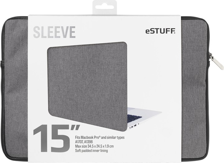 eSTUFF A1707, A1398 15'' Sleeve - Fits Macbook Pro, twill