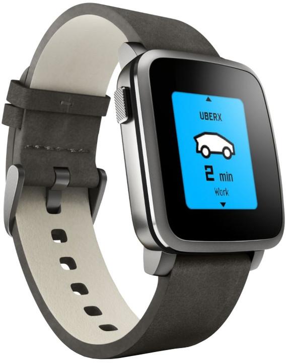 Pebble SmartWatch Time Steel, černá