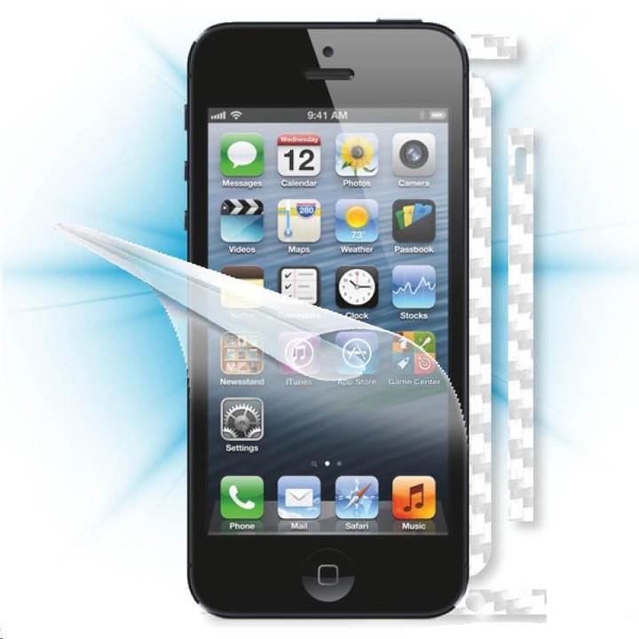 ScreenShield fólie na displej + carbon skin (bílá) pro Apple iPhone 5/SE
