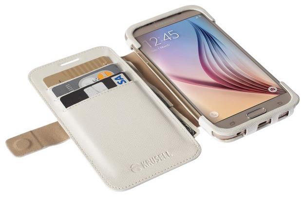 Krusell flipové pouzdro MALMÖ FlipWallet pro Samsung Galaxy S6/S6 edge, bílá