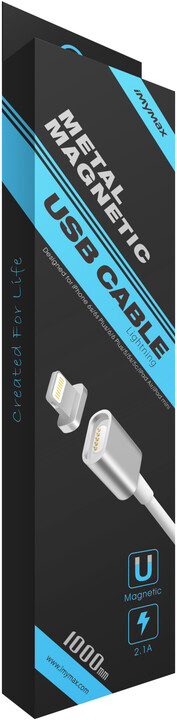 iMyMax Metal Magnetic Lighting Cable, stříbrná