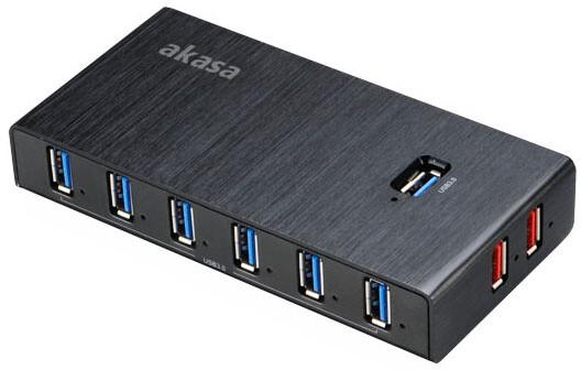 Akasa USB hub Elite 10EX, 10x USB 3.0, 2 nabíjecí porty, černý