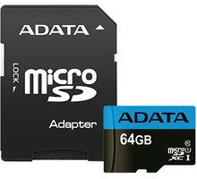 ADATA Micro SDXC Premier 64GB 85MB/s UHS-I U1 + SD adaptér - AUSDX64GUICL10 85-RA1