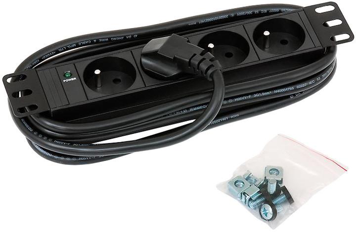"""Triton zásuvka RAB-PD-X90-C1, 10"""", 4x, kontrolka, 3x1,5mm, 2m kabel"""