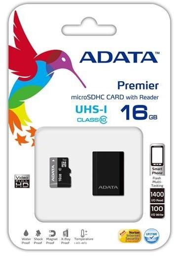 ADATA Micro SDHC Premier 16GB UHS-I + USB čtečka
