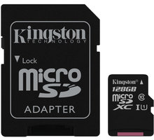 Kingston Micro SDXC 128GB Class 10 UHS-I + SD adaptér - SDC10G2/128GB