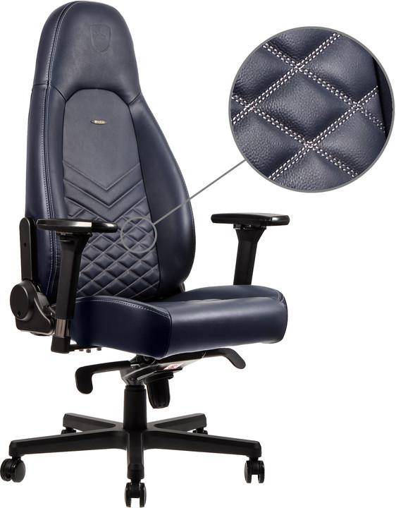 Noblechairs ICON Real Leather, tmavě modrá/šedá