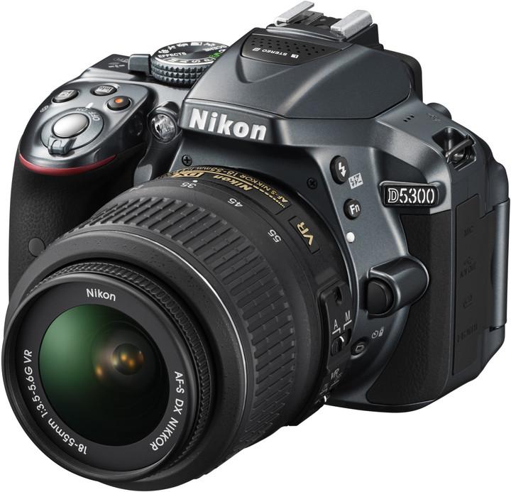 Nikon D5300 + 18-55 VR AF-P, šedá
