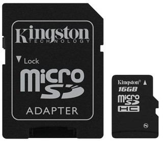 Kingston Micro SDHC 16GB Class 4 + SD adaptér