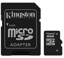Kingston Micro SDHC 16GB Class 4 + SD adaptér - SDC4/16GB