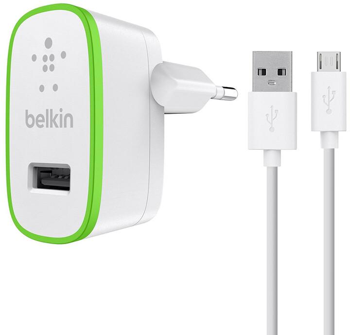 Belkin USB 230V nabíječka univerzální, 5V/2.1A vč. kabelu microUSB, bílá