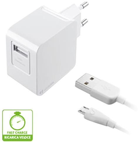 CellularLine nabíječka s datovým kabelem a konektorem microUSB, 2A