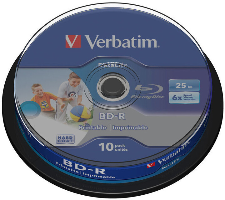 Verbatim BD-R, 6x HTL, 25GB, printable, 10 ks, spindle