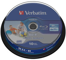 Verbatim BD-R, 6x HTL, 25GB, printable, 10 ks, spindle - 43804