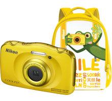Nikon Coolpix S33, žlutá + Backpack kit - VNA853K001