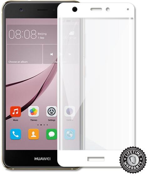 Screenshield temperované sklo na displej pro Huawei Nova, kovový rámeček, bílá