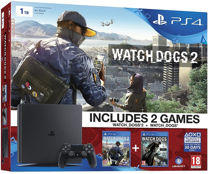 PlayStation 4 Slim, 1TB, černá + Watch Dogs + Watch Dogs 2