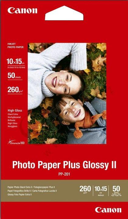 Canon Foto papír Plus Glossy II PP-201, 10x15 cm, 50 ks, 260g/m2, lesklý