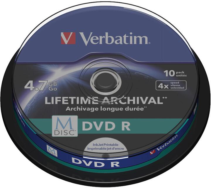 Verbatim DVDR 4,7GB, M-Disc, 4x, Printable, 10 ks, Spindle