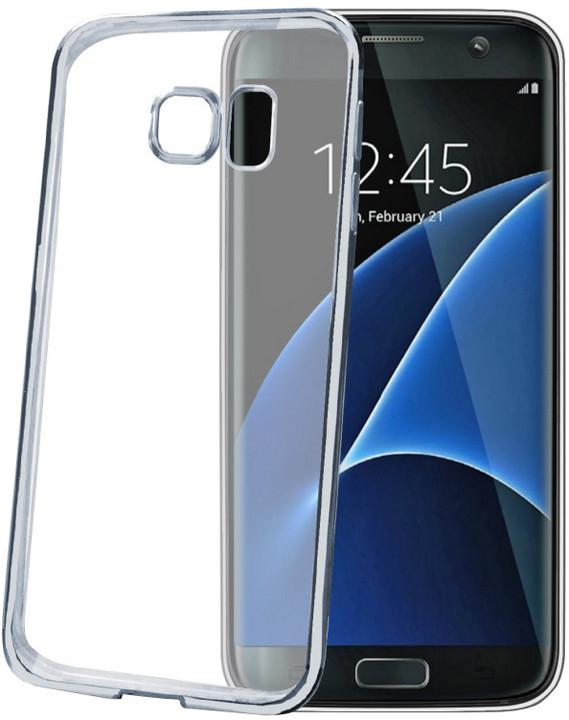 CELLY Laser - lemování s kovovým efektem TPU pouzdro pro Samsung Galaxy S7 Edge, stříbrná