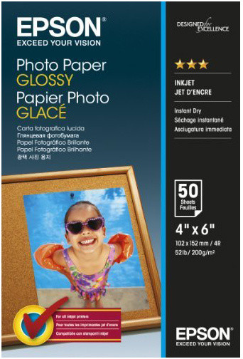 Epson Photo Paper Glossy, 10x15 cm, 50 listů, 200g/m2, lesklý
