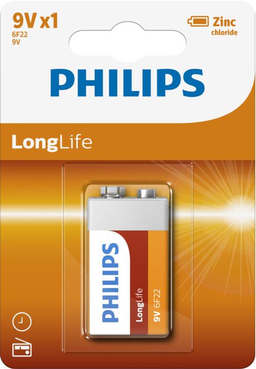 Philips 9V LongLife zinkochloridová, blister