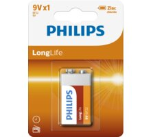Philips 9V LongLife zinkochloridová, blister - 6F22L1B/10