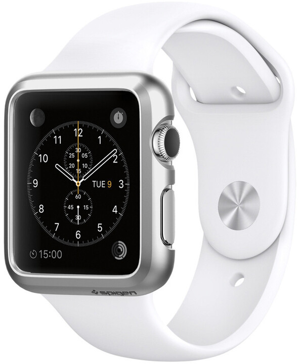 Spigen Thin Fit, satin silver - Apple Watch 38mm