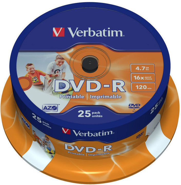 Verbatim DVD-R Printable (Inkjet) 16x 4,7GB spindl 25ks