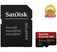SanDisk Micro SDXC Extreme Pro 64GB 95MB/s UHS-I U3 V30 + SD adapter - SDSQXXG-064G-GN6MA