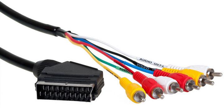 AQ KVR015, Scart/6xRCA (cinch) AV kabel - vstup + výstup, 1,5m