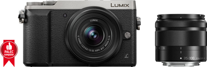 Panasonic Lumix DMC-GX80, stříbrná + 12-32 mm + 35-100 mm