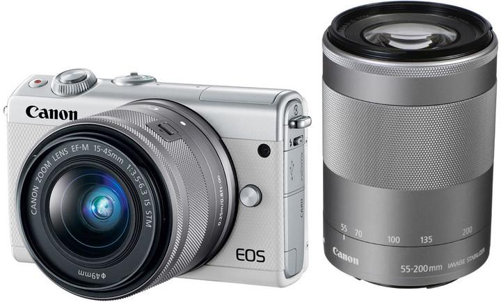 Canon EOS M100 + EF-M 15-45mm IS STM + EF-M 55-200mm IS STM, bílá