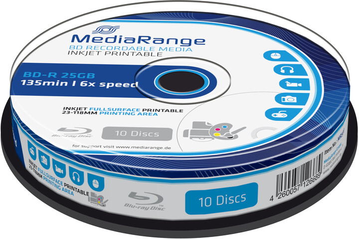 MediaRange BD-R 6x, 25GB, Printable, 10ks, spindle
