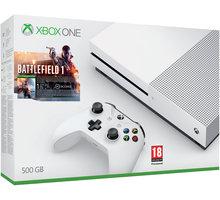 XBOX ONE S, 500GB, bílá + Battlefield 1 - ZQ9-00038 + Druhý ovladač Xbox, bílý v ceně 1400 kč