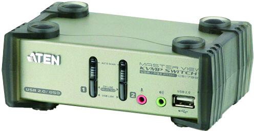 ATEN 2-port KVMP USB+PS/2, usb hub, audio, 1.2m