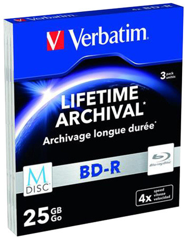 Verbatim BD-R, M-Disc, 4x, 25GB, 3 ks, slim