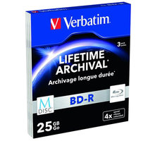 Verbatim BD-R, M-Disc, 4x, 25GB, 3 ks, slim - 43827