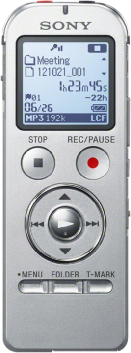 Sony diktafon ICDUX533S, 4GB, stříbrná