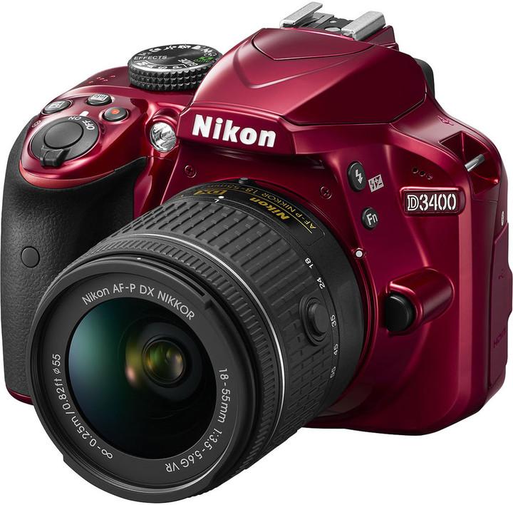Nikon D3400 + AF-P 18-55 VR, červená
