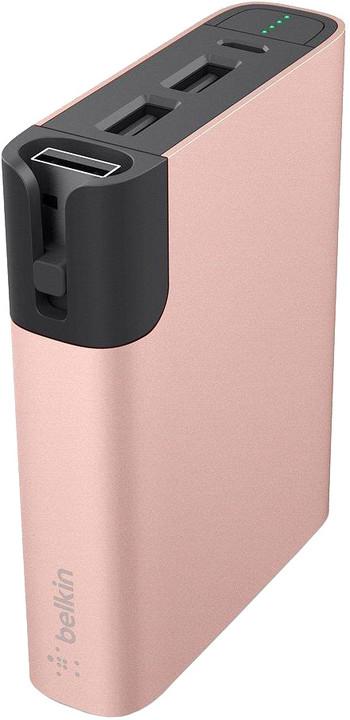 Belkin MIXIT™ Metallic Power Pack 6600, 2xUSB + Micro-USB kabel - růžový