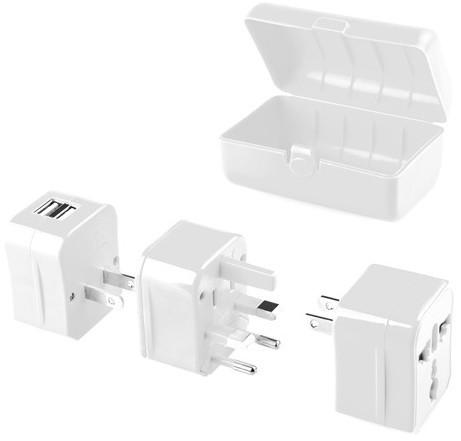GoGEN cestovní adaptér pro 150 zemí, 2x USB, bílá